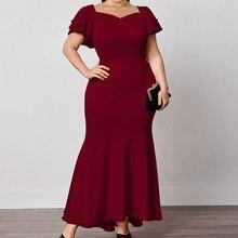Plus tamanho vestidos para as mulheres longo fino borgonha cintura alta mangas curtas festa de aniversário à noite bodycon robes 2021 verão L-4XL