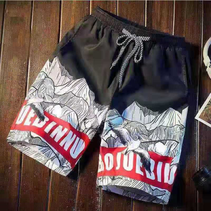 2020 new summer men's fashion casual quick-drying beach pants shorts funny printing bermuda unisex loose Tether pants sportswear