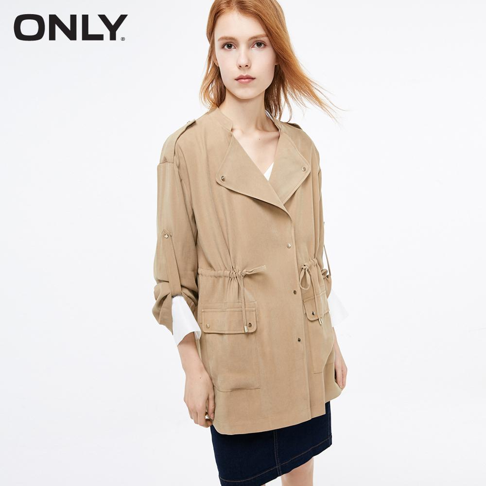 ONLY Women's Loose Fit Mid-length Pure Color Thin Trench Coat | 119136519