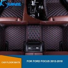 цена на Leather Car floor mat For Ford Focus 2012 2013 2014 2015 2016 2017 2018 SEDAN Custom auto foot Pads automobile carpet cover SUNZ