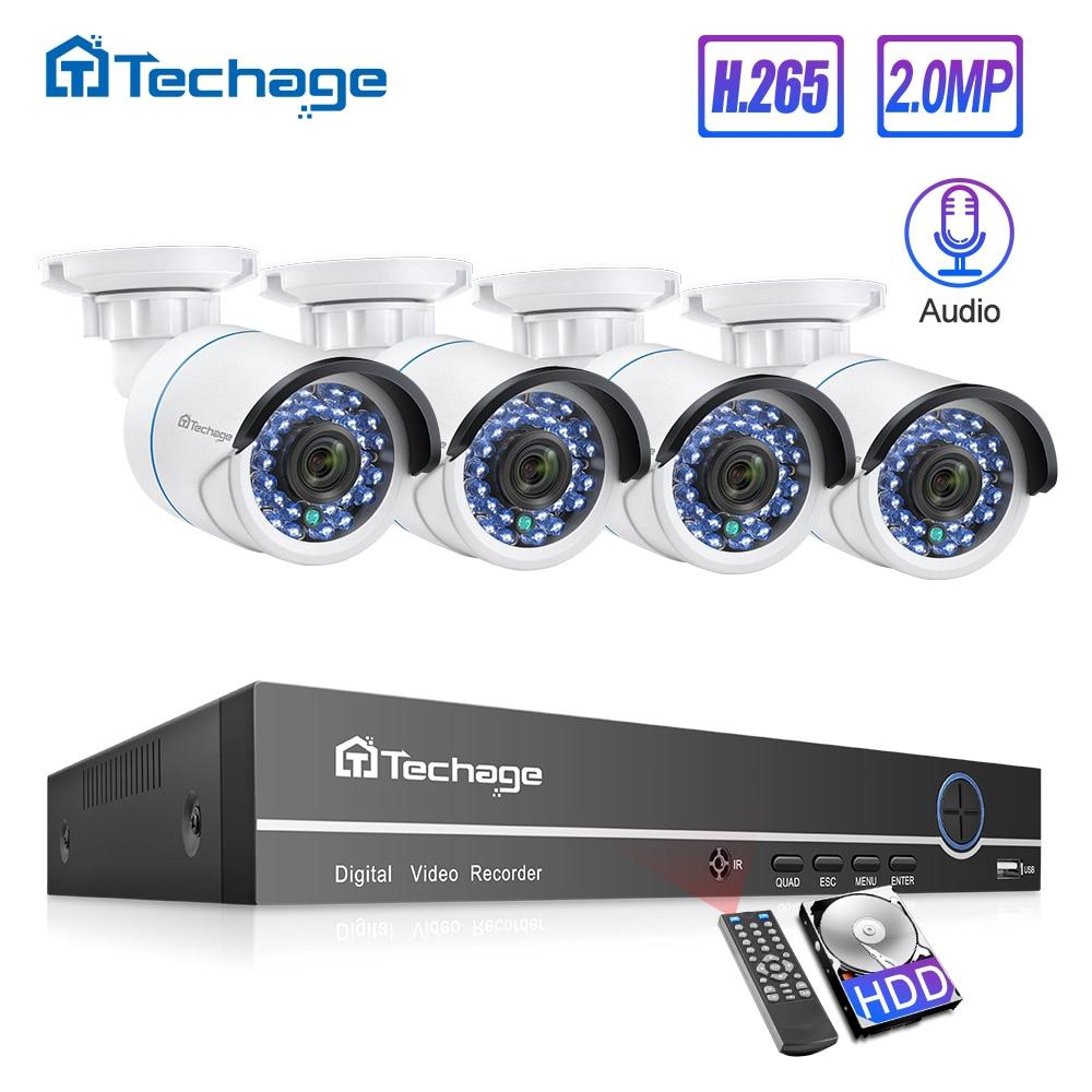 Techage 8CH 1080P POE NVR CCTV System 2MP Audio Mikrofon IP Kamera IR Im Freien Wasserdichte P2P Video Sicherheit Überwachung set