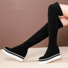 Punk Goth Sneakers Women Faux Suede Stretch Wedges High Heel Over The Knee Boots Platform Oxfords Shoes Round Toe Creepers