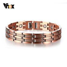 Vnox stylowa czerwona miedź zdrowie bransoletki magnetyczne dla mężczyzny kobiety zapalenie stawów ulga w bólu wysokiej jakości bioenergetyczna bransoletka z paskiem tanie tanio Hologram bransoletki Mężczyźni Miedzi Moda TRENDY Metal Link łańcucha Wszystko kompatybilny ROUND VNOX-PBRM-004 Ustawienie ramki