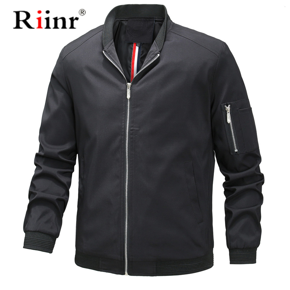 Riinr Mens Jackets Winter Autumn Casual Coats Solid Color Mens Sportswear Stand Collar Slim Jackets Male Bomber Jackets 5XL