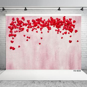 Photo Studio Prop Pink Planks Wall A Lot Of Hearts Background Baby Child Portrait Lovers Photography Backdrop Poster Photocall image