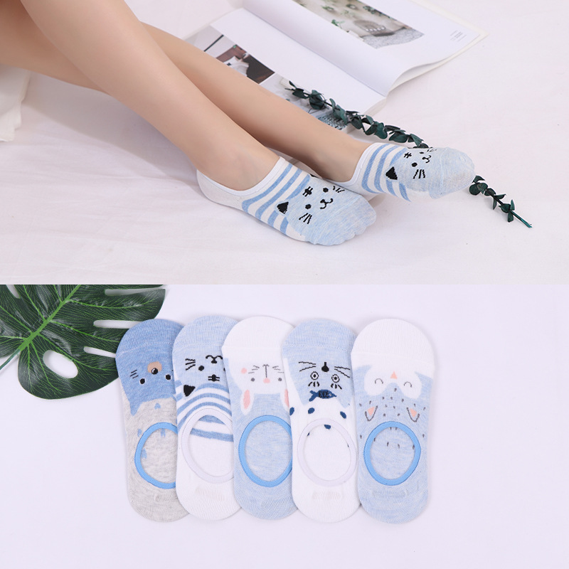10 Piece=5 Pairs/lot Cute Harajuku Animal Socks Women Summer Korean Cat Rabbit Funny Low Cut Ankle Sock Happy Sox