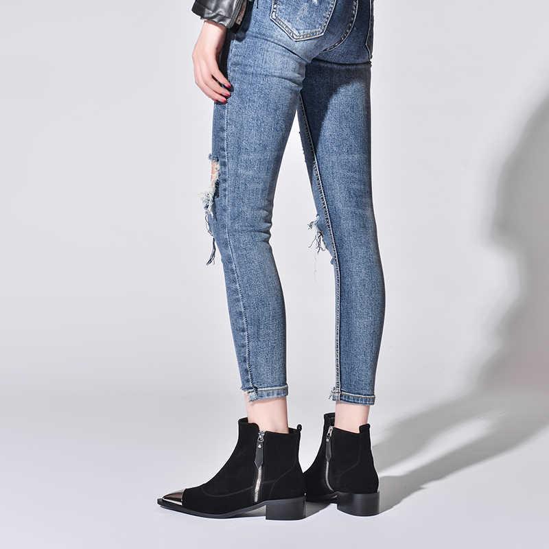 Mode Schoenen 2019 Vrouwen Schoenen Enkellaarsjes voor Vrouwen Koe Suede Puntschoen Vierkante Hak Westerse Platform Laarzen Australische Laarzen