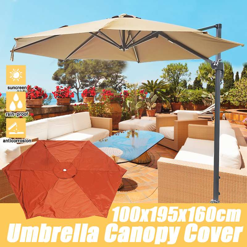 6.5ft Waterproof Canopy Garden Parasol Canopy Cover Sun Shelter Cover Parasol Top Garden Outdoor Replacement Fabric