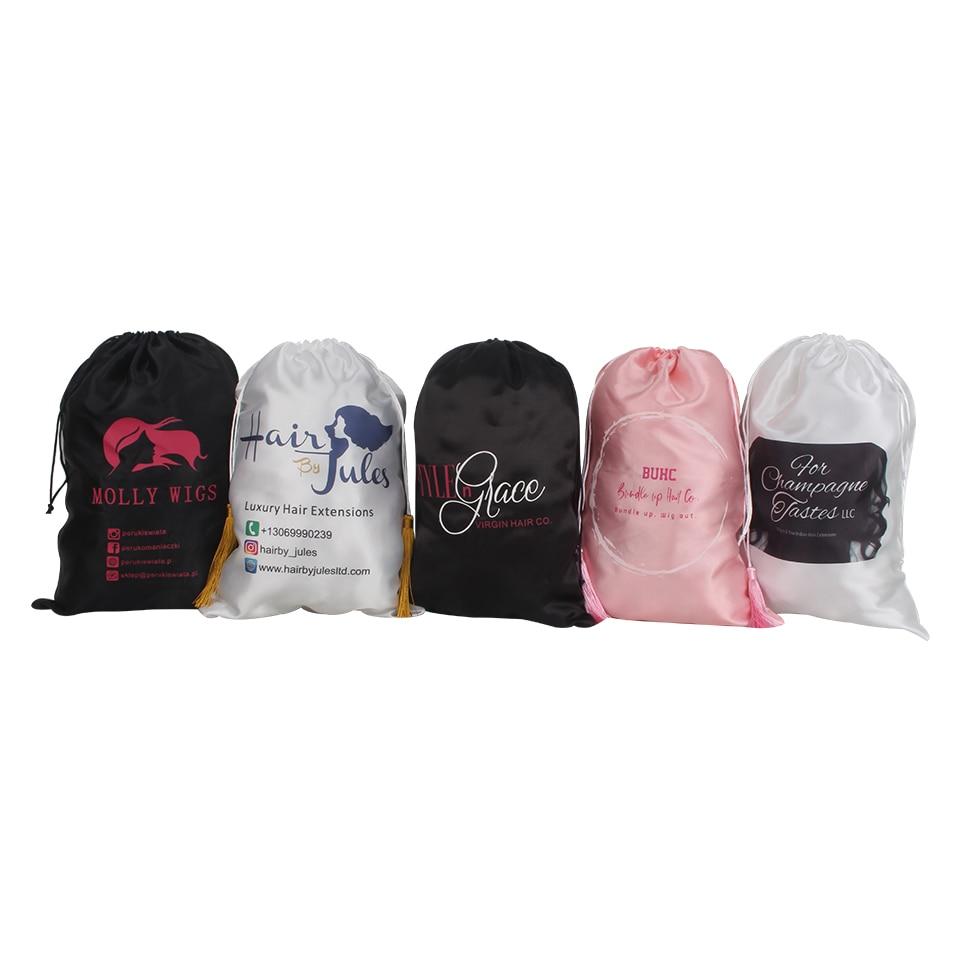 28X40cm Custom Logo Brand Name Human Virgin Hair Extension Wig Satin Packaging Bag,women Premium Hair Bundles Silk Packing Bag