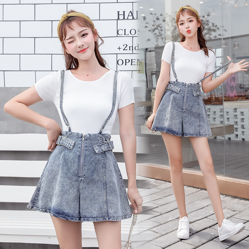 Playful Set Goddess-Style 2019 Summer T-shirt Tops With Cowboy Suspender Shorts Online Celebrity Slimming Two-Piece Set Fashion