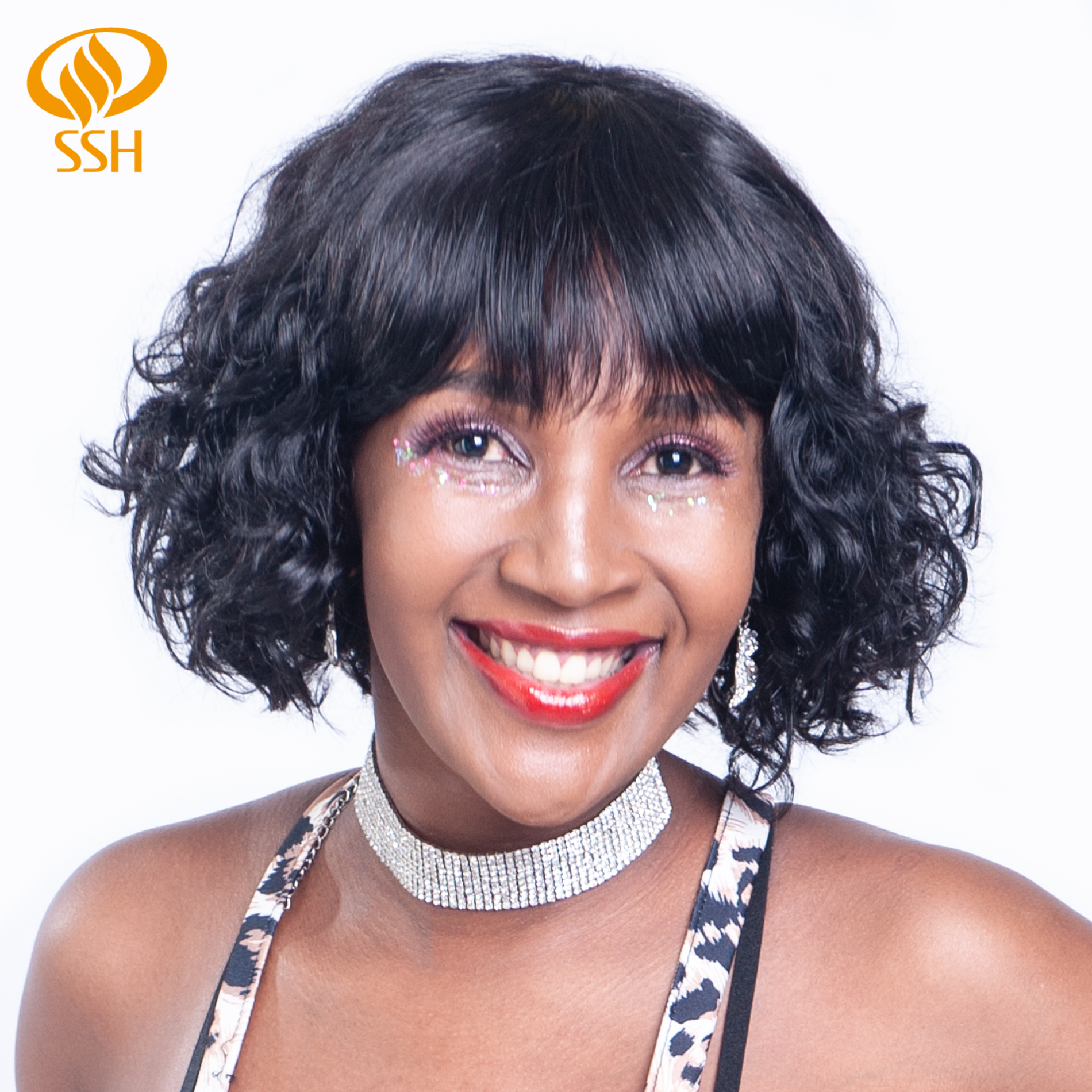 Water Wave Wig Non-Remy Brazilian Human Hair Bob Wigs 130 Density For African Americans Women Wig SSH