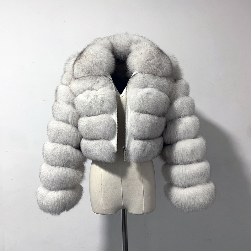 rf1982 New Arrival Woman s Real Fox Fur Coat Short Style Slim Fit Zipper Fashion Real
