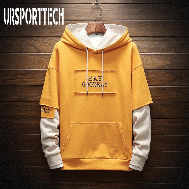 2019 New Men Hoodies Sweatshirts SAY GOODBAY Letter Print Headwear Hoodie Hip Hop Streetwear Clothing Plus Size 3XL Streetwear