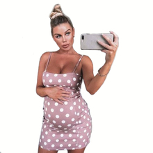 Maternity Dress Cotton Women Pregnant Dots Breastfeeding Sexy Shoulder Strap Summer Fashion S-5XL