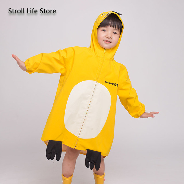Girl Kids Raincoat Yellow Cute Old Pink Cartoon Rain Coat Jacket Long Rain Poncho Waterproof Suit  Dinosaur 2-6 Years Gift Ideas 1