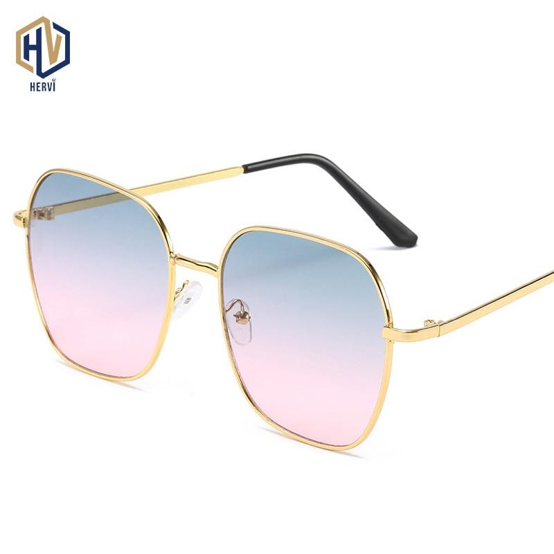Metal Frame Big Frame Female Sunglasses Ocean Tablets UV-400 Silica Gel Soft Nose Pads Non-slip Temple Gradient Lens