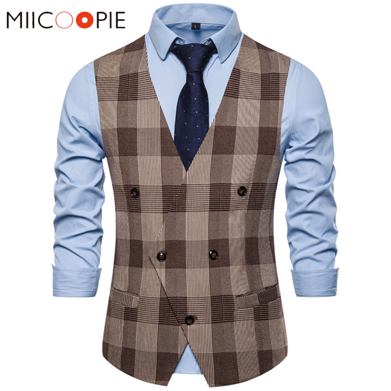 Plaid Waist Coat For Men Fashions Formal Double-breasted Business Wedding Prom Dress Coletes Masculino Mens Vest Fashion Suit