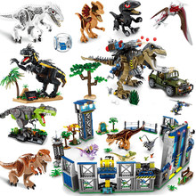 Jurassic Dinosaurs Park Animals World Indoraptors Tyrannosaurus Building Blocks Construction Toys Bricks Blue Owen T Rex Dinos