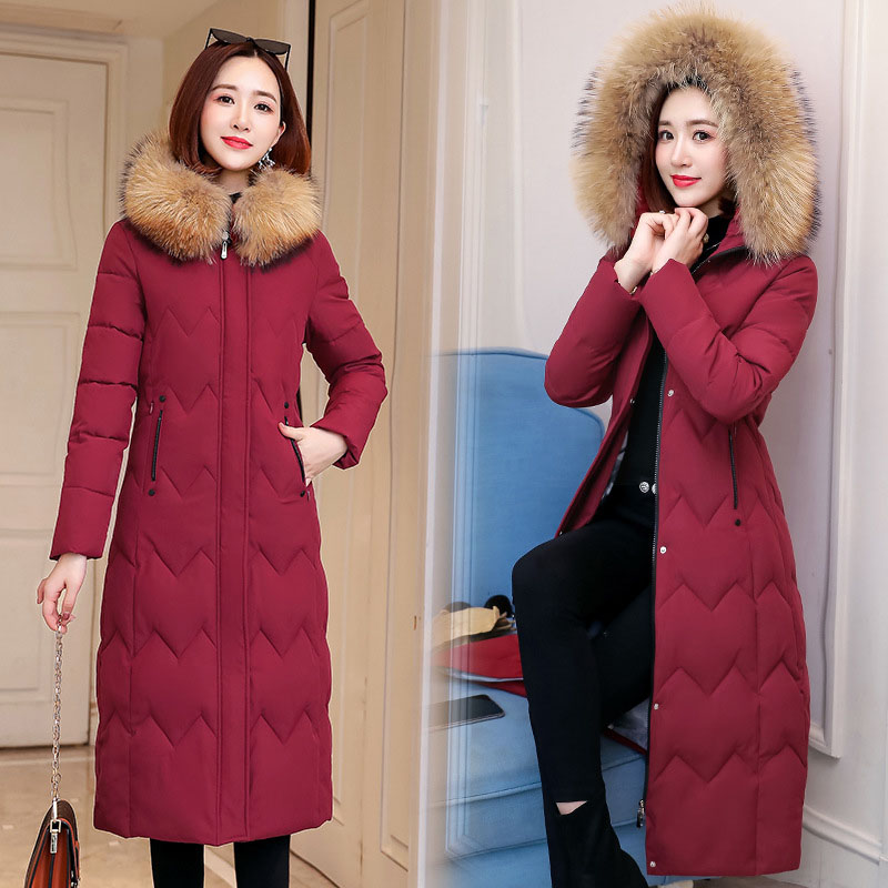 QIHUANG Winter Women   Down     Coat   Hooded Fur Collar Thicken   Down   Cotton Jacket 2019 Winter Plus Size Slim Women Parkas