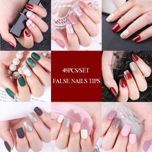 48pcs/24pcs/Set Fake Nails Matte False Nail Art Detachable Tips For Extension Manicure press On