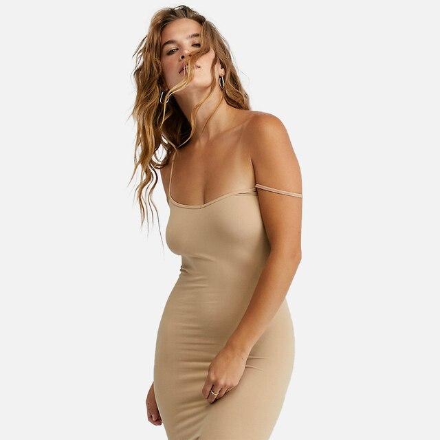 Stretchy Seamless Midi Slip Dress V Neck Sleeveless Cami Vestido Slim Bodycon Underdress 2020 Summer Women Strap Dresses 1
