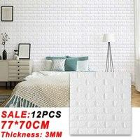 Calcomanía de ladrillos 3D autoadhesiva, papel tapiz de espuma impermeable, bricolaje, para dormitorio, habitación de niños, cocina, techo, fondo, calcomanías de pared, 12 Uds.