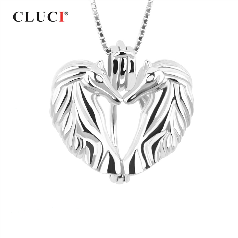 CLUCI Silver 925 Romantic Love Horse Women Jewelry 925 Sterling Silver Victoria Wing Heart Shaped Pearl Locket SC053SB