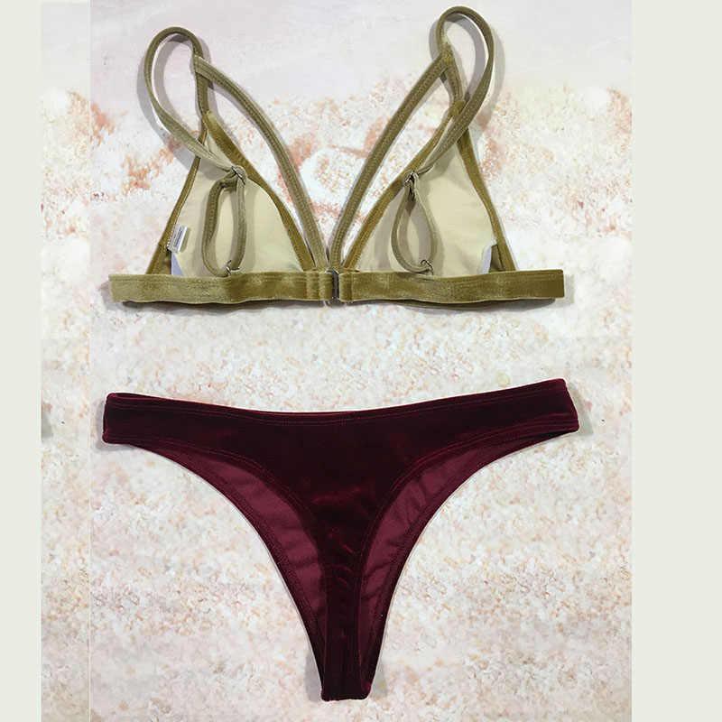 2019 nowy sexy bikini zestawy złota odzież na noc duże czerwone aksamitne bikini kobiety stroje kąpielowe S M L
