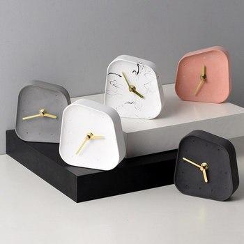 Nordic Home Decoration Accessories Geometry Shaped Cement Table Clock Desktop Decoration Mute Concrete Small Desk Clock 3