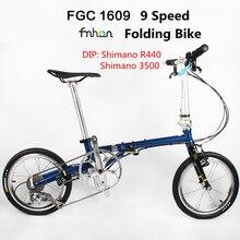 Fnhon FCG1609 Bici Pieghevole 16 pollici Minivelo CR MO Acciaio Inox V Freno 9 Velocità Urbano Pendolari Della Bicicletta Per Shimano Cambio Retro per il tempo libero BMX