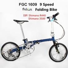 Bicicleta plegable FCG1609 de 16 pulgadas Minivelo CR-MO de acero V freno urbano de 9 velocidades para Shimano Shift Retro Leisure BMX