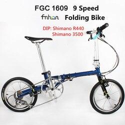 Fnhon FCG1609 Folding Bike 16inch Minivelo CR-MO Steel V Brake 9Speed Urban Commuter Bicycle For Shimano Shift Retro Leisure BMX