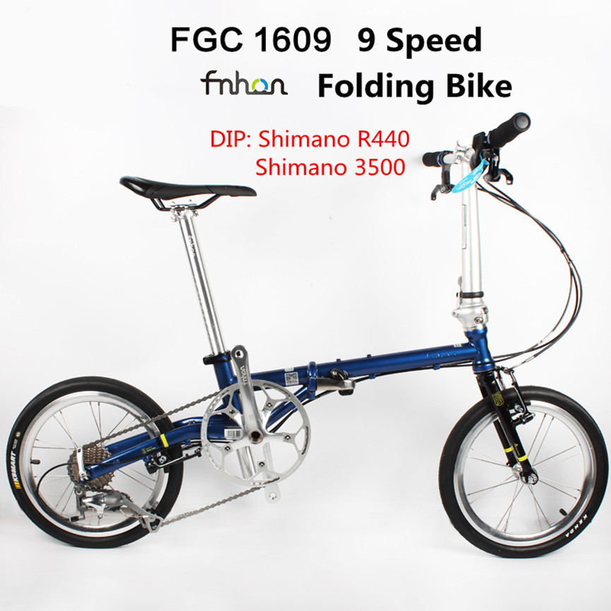 Fnhon FCG1609 Folding Bike 16inch Minivelo CR-MO Steel V Brake 9Speed Urban Commuter Bicycle For Shimano Shift Retro Leisure BMX image