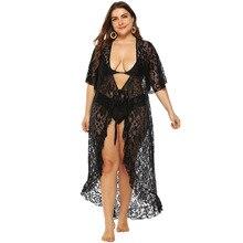 Платье большого размера, сексуальный кружевной прозрачный кардиган, на шнуровке, с коротким рукавом, с воланами, ассиметричное, с глубоким v-образным вырезом, платье A6155