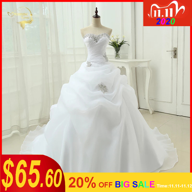 Gorąca sprzedaż New Arrival Vestido De Noiva linia suknia ślubna frezowanie biały suknia ślubna w kolorze kremowym 2020 szata De Mariage Casamento OW3199