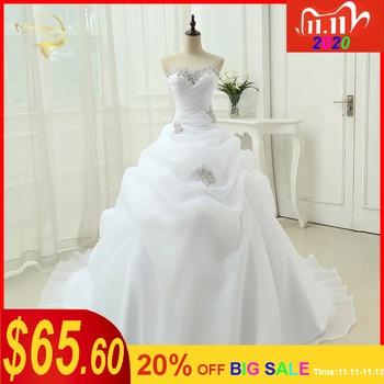 Hot Sale New Arrival Vestido De Noiva A Line Bridal Gown Beading White Ivory Wedding Dress