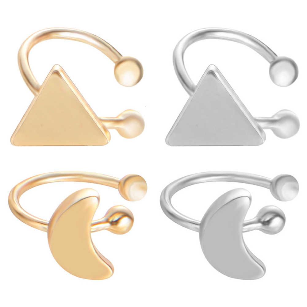 Estilo coreano coração estrela triângulo lua orelha manguito clipes-em brincos meninas jóias