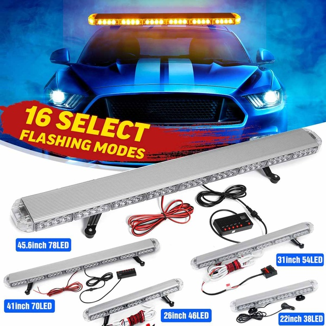 "22"" to 45.6"" Car Led Strobe Flash Warning Light Bar Roof Beacon Flashing Emergency Trucks Beacons Trailer  Engineering vehicle"