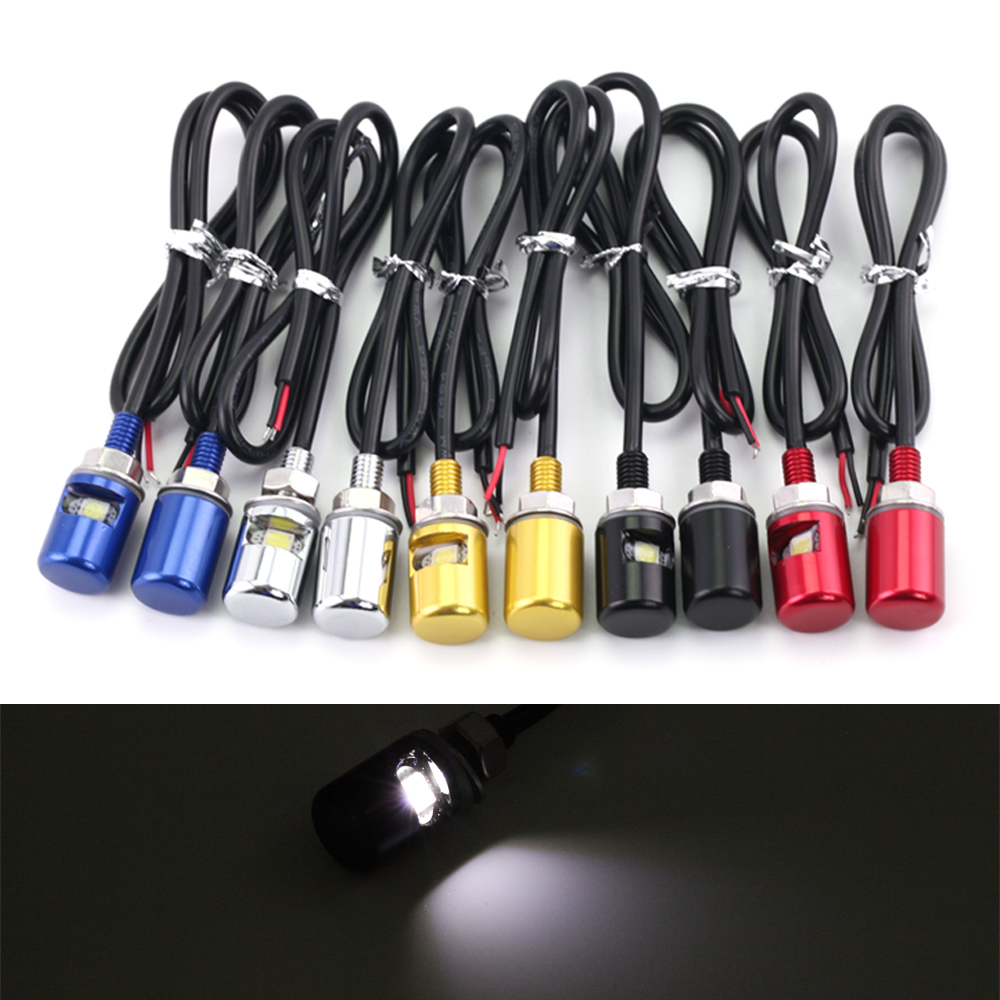1 Pair Universal 12V LED License Plate Light Screw Lamp Bolt White Light Chrome/Black/Blue/Red/Gold Motorcycle Accessories CNC