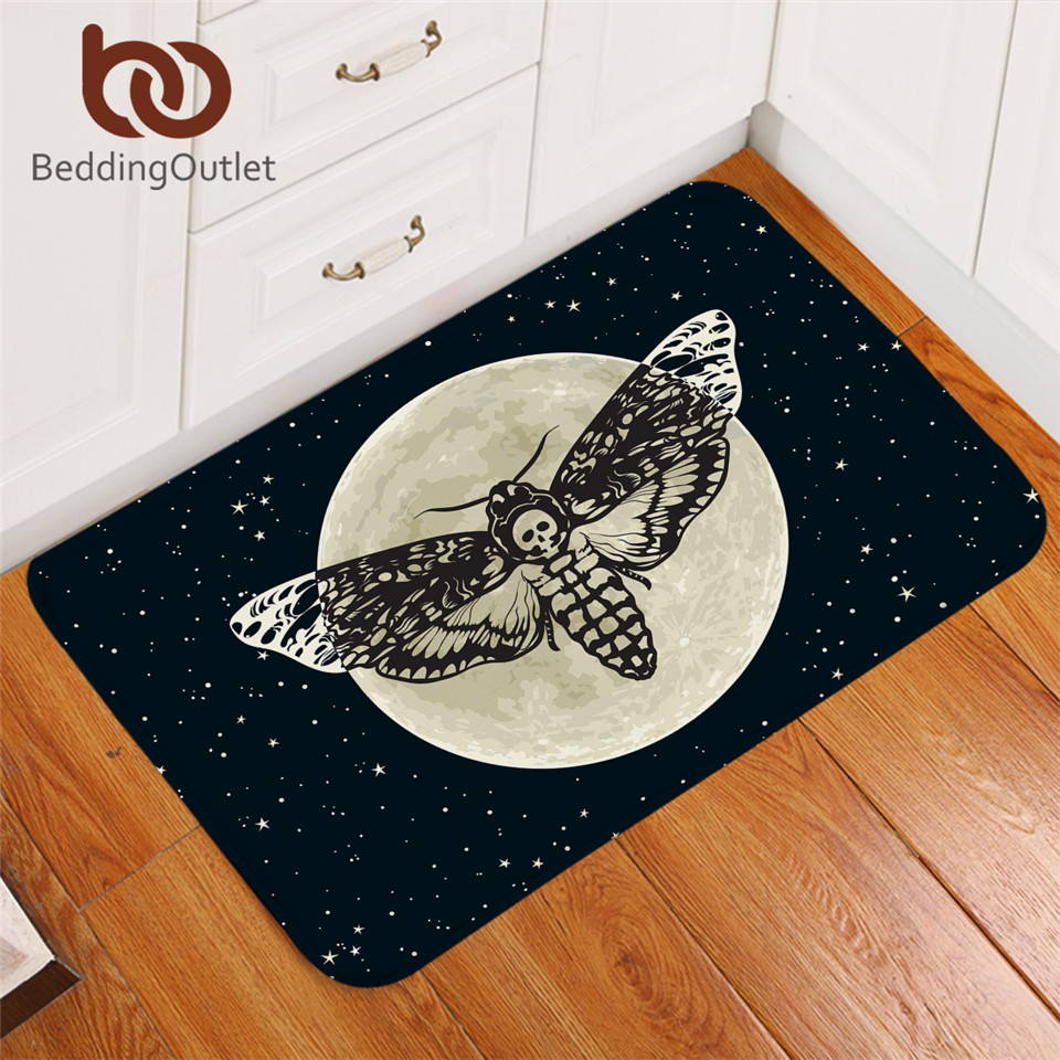 BeddingOutlet Death Moth Entrance Doormat Gothic Skull Area Rug Butterfly Moon Star Bedroom Carpet Polyester Rug Mat 40x60cm