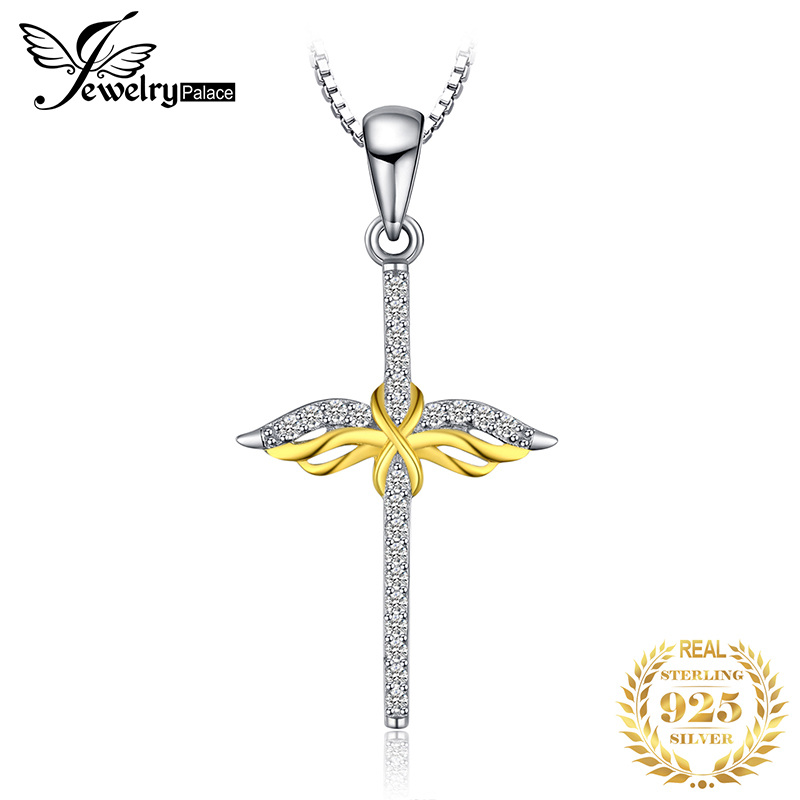 JPalace Cross Angel Silver Pendant Necklace 925 Sterling Silver Choker Statement Necklace Women Silver 925 Jewelry WithoutChain in Pendant Necklaces from Jewelry Accessories