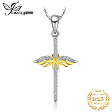 JPalace Cross Angel Silver Pendant Necklace 925 Sterling Silver Choker Statement Necklace Women Silver 925 Jewelry WithoutChain(China)