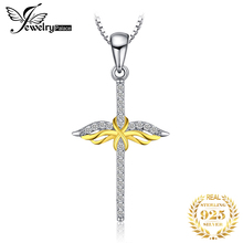 JewelryPalace 925 Sterling Silver Pendants Necklace Infinity Two Tone Cross Angel Wings Cubic Zirconia Pendant Without Chain jewelrypalace authentic 925 sterling silver pendants necklace crown wings honey bee pendant without chain cubic zirconia jewelry