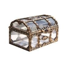 Organizador na kosmetyki retro pirata caixa de ervas daninhas jóias organizador caixa de tesouro de plástico brinco recipiente caixa de armazenamento de cosméticos