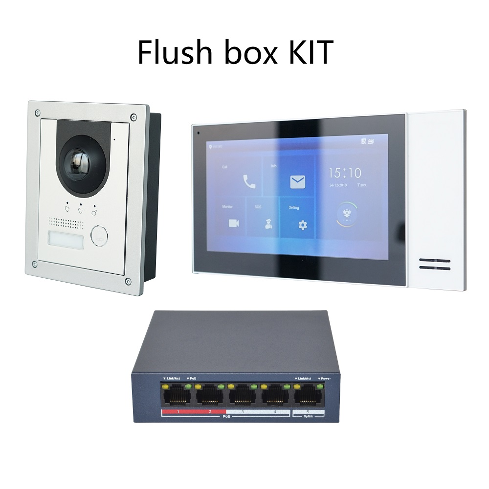 KIT de intercomunicador de vídeo IP multilingüe, incluye VTO2202F-P, VTH2421FW-P y conmutador PoE, firmware SIP