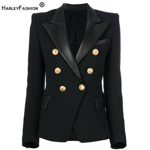Black Blazer Collar Classic Slim Spring-Autumn-Quality Formal European-Design Harleyfashion