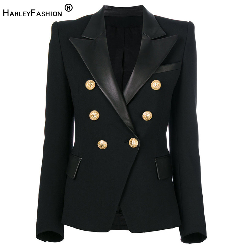 HarleyFashion 2020 Spring Autumn Quality European Design PU Leather Collar Slim Black Blazer OL Formal Classic Fitness Blazers
