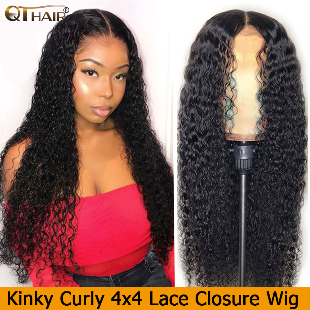 Curly Hair 4*4 Lace Front Human Hair Wigs For Women Pre Plucked Hairline With Baby Hair Brazilian Remy Hair Bleached Knots QT