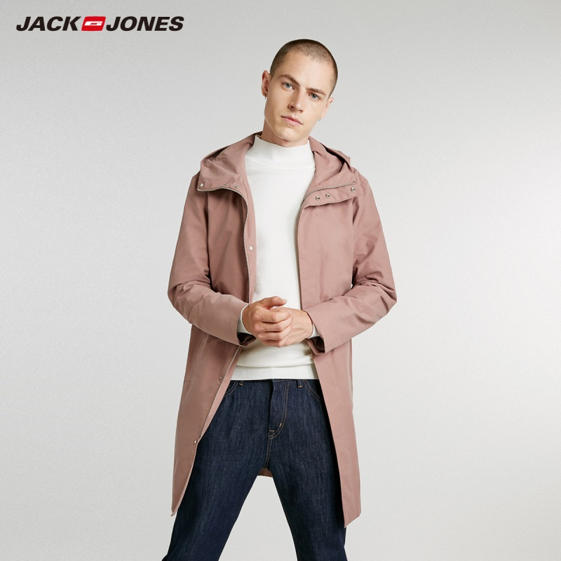 JackJones Autumn Men's Business Style Hooded Coat Casual Jacket Long Coat 218321553