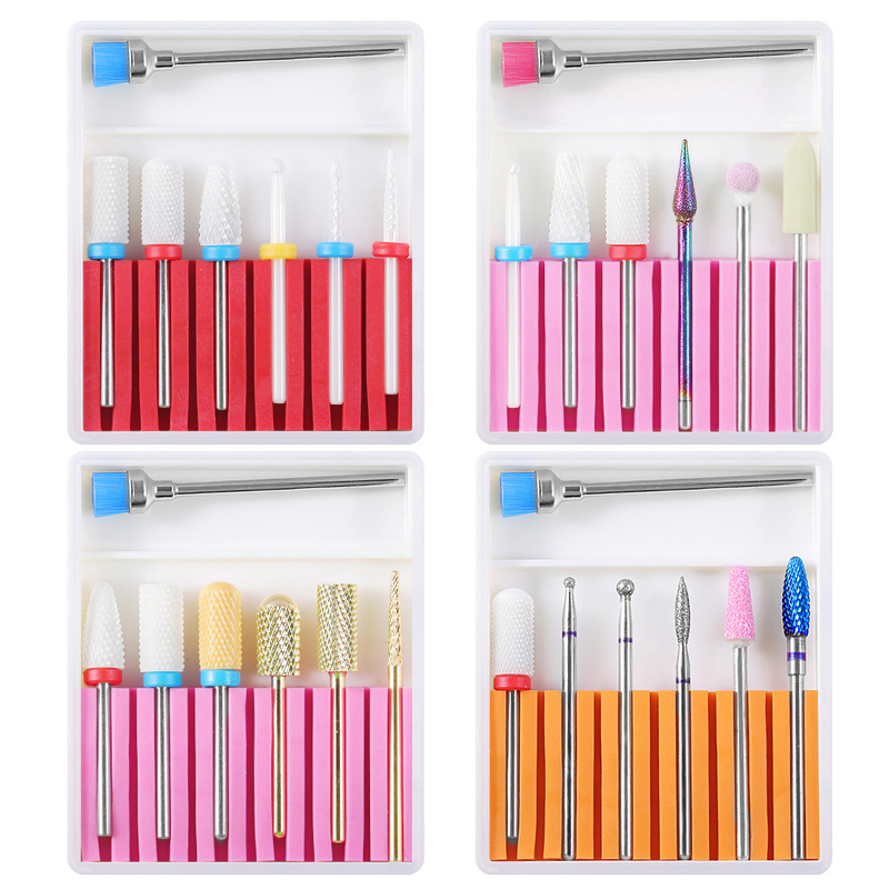 7PCS Ceramic Diamond Nail Drill Bits Set Milling Cutters Electric Manicure Pedicure Machine Gel Remover Strong Nail Drill Files